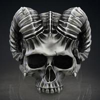 Gotico 316L in acciaio inox Capricorno testa di pecora Anello da diavolo per uomo gioielli punk teschio Cavaliere fantasma gioielli per uomo TAGLIA 7-14