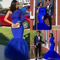 Royal Blue Abendkleider Schulter-lange Hülsen-Spitze-Satin-Nixe-Frauen-formale Abend-Partei-Kleid Benutzerdefinierte Größe
