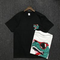 19SS 남성 T 셔츠 고품질 코튼 커플 짧은 소매 남성 악어 프린트 티셔츠