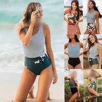 Zip Vest Strap One Piece Swimsuit Women Striped Floral Banda...