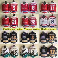 Männer Washington Capitals CCM Vintage Trikots 8 Ovechkin 68 Jagr 32 Hunter 21 Maruk 5 Langway 11 Gartner 37 Kölkig Hockey Jersey