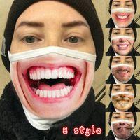 Wiederverwendbare Expression 3D-Druck-Karikatur-Gesichtsmasken Mundmaske Lustige Staubdichtes Maske UV-Beweis Waschbar Lauf Reiten Masken RRA3284