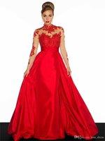 Vestido de baile Red Red Red Vestidos de Prom Largo Cuello de Cuello Tafetán A-Line Applique Manga Larga Manga Atrás Vestidos Formales Vestidos Nuevo Estilo Custom