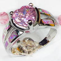 SHUNXUNZE Treasurer empfohlen Trauringe Schmuck Herz Liebe für Frauen rosa Zirkonia und rosa Opal Rhodium überzogen R603 Größe 7 9