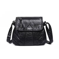 2020 Fashion Square Crossbody Bag Washing Soft Leather Over-...