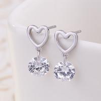 Lusso Cuore banda 925 orecchini amore Sterling Silver cristallo per le donne alla moda elegante sposa Brincos gioielli