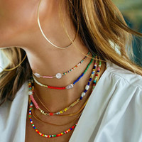 New Designer Bohemian Colorful Necklace Millet Bead Choker Starfish Pearl Multi-Layer Beach Necklaces Ethnic Style Womans Fashion Jewelry