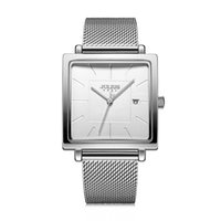 Julius nuevo acero inoxidable de malla de la banda de reloj de las mujeres de negocios Square estilo de cuarzo reloj de pulsera resistente al agua 30M JA-1207