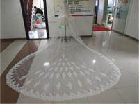 Em Estoque Véus De Casamento Real Imagem Lace Apliques de Duas Camadas Véus de Noiva com Rosto Blush 3/4/5 Metros Longos Véu Do Casamento Personalizado