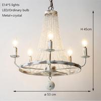 Retro vintage cooper kristal E14 LED avizeler damlalar / BÜYÜK Avrupa EMPIRE STIL cilalar avize oturma odası için Aydınlatma