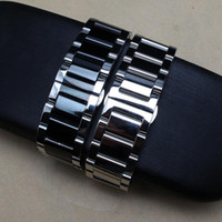Métal Noir Argent Bracelet 20 mm 22 mm 24 mm Montre en acier inoxydable bande pour le remplacement Breitling hommes Bracelet en argent massif lien T190620