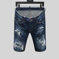 dsquared2 DSQ d2 mens tasarımcı kısa kot düz delikler sıkı kot rahat jean Gece kulübü mavi Pamuk yaz Erkekler pantolon Boş tarzı anımsama