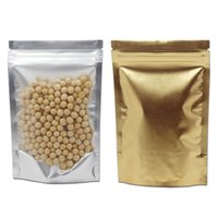 Stand Up Zipper blocco mylar Confezione Borse 6 Misure frontale trasparente in plastica posteriore Oro di alluminio del pacchetto del sacchetto Food Storage Buste 6 Taglie