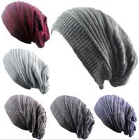 Heiße Winterfrauen Strickmützen warme slouch Mützen für Erwachsene Trendy Warm Chunky Soft Stretch Kabel Wollmütze Knit Beanie Geizige Krempe