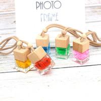 Cube Car Perfume Bottle висит висит орнамент заднего вида Освежитель воздуха для эфирных масел диффузор аромат пустой стеклянный бутылка кулон LJJA3576-1