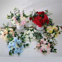 Düğün çiçek düğün yol kurşun Gül Şakayık çiçek top Şen simülasyon ipek düğün sahnesi düzeni çiçek T evresi Roma sütun çiçek