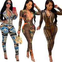 New Arrival Print Long Sleeve Jumpsuit Sexy V Neck Women Rom...