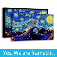 Hazır için askıda - - Yatak odası Deco Tuval Jack ve Sally HD Yağ Van Gogh Artwork Çerçeveli Resim Sanatı yazdır Destek Özelleştirme