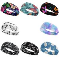 Borboleta Impresso Headband Bandeau Muti Colors Elastic Turban Yoga Lavagem Rosto Faixa de Cabelo Fitness Fitness Fontes Ao Ar Livre Mulheres Lady Girl 4 5WX C2