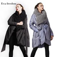 Eva Freedom Original Design 2018 Winter потерять пуховики бренды Подражать пляж шерсть плащ с капюшоном вниз куртка женщин с капюшоном 18968