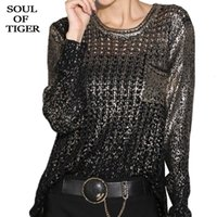 OF TIGER 2020 Korean Fashion Ladies Luxury Hole Sweaters Wom...