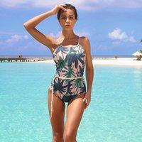 2020 새로운 허리 매는 여자 수영복 인쇄 레오파드 슬링 한 조각 수영복 레오파드 단단한 잎이 섹시한 수영복 비치 정장 인쇄 인쇄