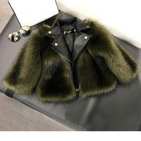 Fille manteau de fourrure imitation herbe artificielle herbe de haute qualité peluche + cuir faux 2 pièces hiver enfants bébé fille girl