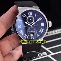 새로운 Maxi Marine Chronometer 1183-122-3 / 42 검은 색 다이얼 파워 리저브 자동 남성용 스틸 케이스 러버 스트랩 스포츠 시계 Hello_watch