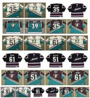 Vintage Anaheim Patos Mighty Jersey 35 JEAN-SEBASTIEN GIGUERE 91 SERGEI FEDOROV 51 RYAN GETZLAF 61 COREY PERRY 39 TRAVIS VERDE Personalizado Hóquei