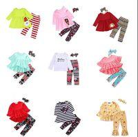 Mädchen-Kleidung Einhorn Kinder Blumen Anzüge Fashion Boutique Outfits Schule-Baby-Rüsche Kleidung Sets Brief gedruckt Hosen-Stirnband-B5172 Tops