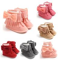 Девочка кисточкой снегоступы зимние теплые пинетки младенческой малыш новорожденный Принцесса лук мокасины мягкая детская кроватка обувь 0-18 м