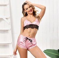 Les femmes pyjamas Bras sexy rayé rose Imprimer Pyjama dentelle à encolure en V manches Pyjama mignon Cami Soutien-gorge et Shorts Sous-vêtements Set 2020 Nouveau