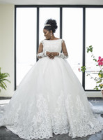 2019 Plus Size Wedding Dresses Long Sleeve Lace Pearls Tulle...