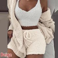Moda Kadınlar Hırka Vintage 2 Parça Pantolon Set Kazak Peluş Kapşonlu Coat + Şort Pijama Sıcak Gecelikler 2 adet Eşleşen Giysi