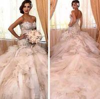 2020 Luxus Diamanten Meerjungfrau Brautkleider Robe De Mariage Perlen Spitze Korsett Top Tiered Ruffls Tüll Arabisch Brautkleider Kathedrale Zug