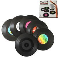 Moda Sıcak 6 Adet / grup Ev Masa Fincan Mat Yaratıcı Dekor Kahve İçecek Placemat İplik Retro Vinil CD Kayıt İçecekler Bardak ZZA1102