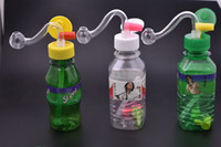 дешевые мини переносной путешествия пластиковые мини-бутылки напитка Бонг водопровод буровые вышки водопровод для курения