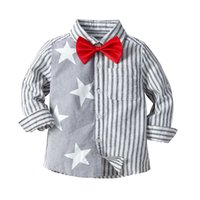 Cute Boys Stripes Stars Bow Shirts Tees Candy Grigio Blu Colore Western Fashion Gentleman Boys Primavera Autunno Abbigliamento Top