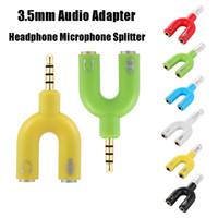 다채로운 3.5mm 오디오 잭 헤드폰 스피커 마이크 마이크 스테레오 U 스플리터 변환기 어댑터