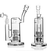 Möbius Glasbongs Glas Wasserrohr Bohrinsel Doppel Stereo Perc Matrix mit 18-mm-Fuge mit Glas oder bangen bowl dicken