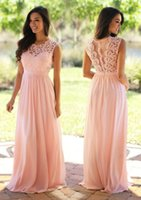 Long Pink Bridesmaid Dresses Lace Top Chiffon Skirt Floor Le...