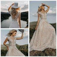 Урожай 2020 Пляж Кружева Boho линия Свадебное платье Элегантный Тюль Аппликации с коротким рукавом Bohemia Свадебные платья Платье De Noiva