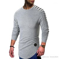 T shirt Longline Curved Casual Tees Long Sleeved Tops Clothes Draped Mens Spring
