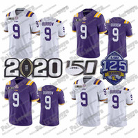 NCAA 2020 National Championship Lsu Tiger # 9 Joe Burrow # 9 Burreaux 1 Ja'marr Chase 150th 125th # 20 Billy Cannon 2020 Patch College Jerseys