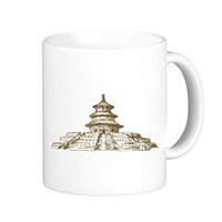 Cina Tempio del Cielo Schizzo Paesaggio Città Punto di riferimento Illustrazione Modello Classico Tazza ceramica bianca Caffè latte caffè con manici 350 ml