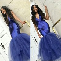 2019 African Black Girls Mermaid Prom Dresses V- Neck Royal B...