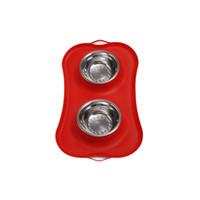 10 sztuk Pet Dog Bowls 2 Ze Stali Nierdzewnej Pies Bowl bez wycieku Non-Skid Silikonowa Mata Żywności Pet Food Scoop Podajnik wodny Miski 4 Kolory