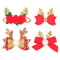 Clipes de Natal lantejoulas Barrettes Glitter Bow Bow Antlers Grampos Fur bola Floral Pom Pom bowknot Cabelo XMAS princesa Menina Headwear