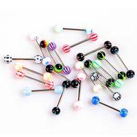 Jewelry 100pcs / corpo modo del lotto colori misti Tongue Tounge Anelli Bars Barbell Piercing alla lingua
