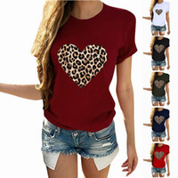 Tops Leopard-Druck Big Love T-Shirts Damen Kleidung Crew Neck Frauen Designer Kurzarm-T-Shirt Casual Luxury